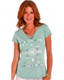 Panhandle Slim Women's Light Green Lace Inset Arrow Graphic Shirt