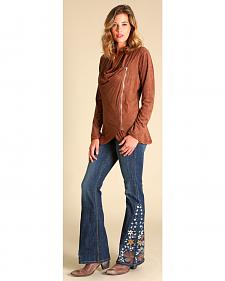Wrangler Women's Brown Faux Suede Zip Jacket