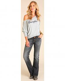 Wrangler Women's Off the Shoulder Logo Top