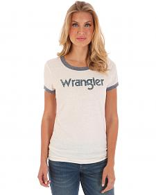 Wrangler Women's White and Blue Ringer T-Shirt