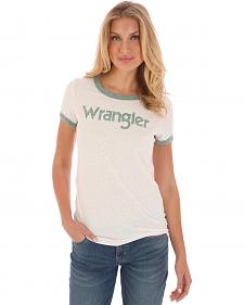 Wrangler Women's White and Green Ringer T-Shirt