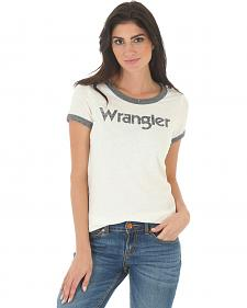Wrangler Women's White and Grey Ringer T-Shirt