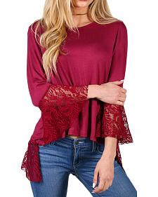 Shyanne Women's Burgundy V Slit Lace 3/4 Sleeve Shirt
