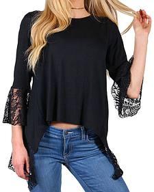 Shyanne Women's Black V Slit Lace 3/4 Sleeve Shirt
