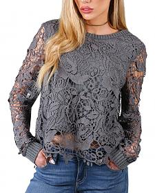 Shyanne Lace Overlay Long Sleeve Blouse
