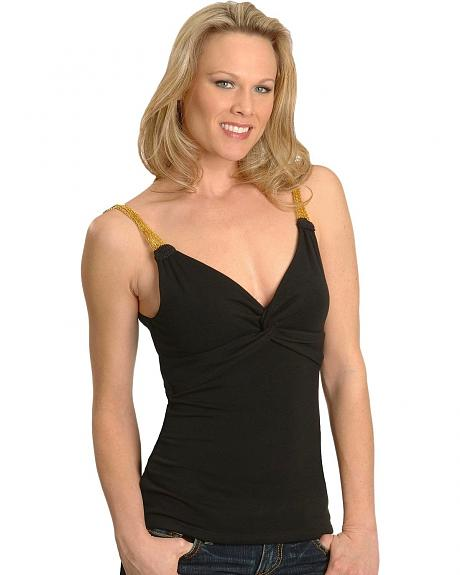 Cripple Creek Black Chain Strap Camisole