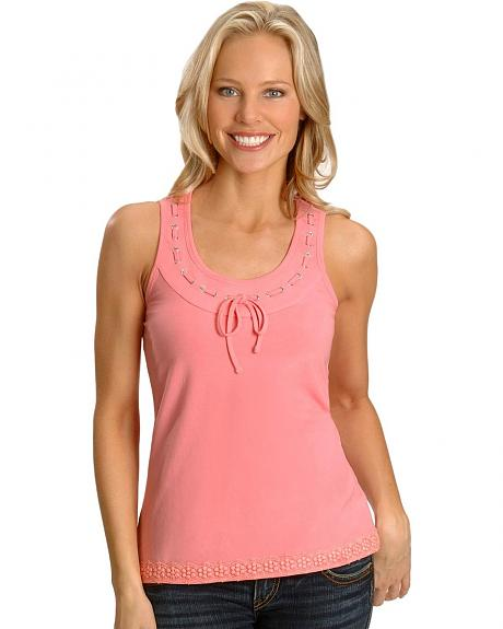Cripple Creek Pink Crocheted Tank Top