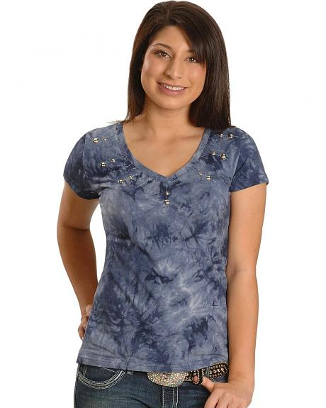 Cripple Creek V-Neck Studded Tie Dye Tee