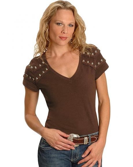 Cripple Creek Brown Studded Western Tee