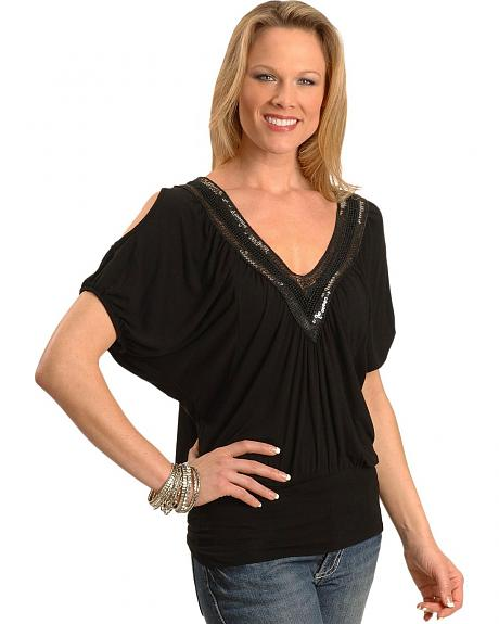 Panhandle Slim Black Key Hole Sleeve Top
