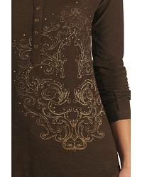 Ariat Nailhead and Fleur de lis Henley Top at Sheplers