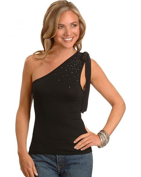 Cripple Creek One Shoulder Rhinestone Top