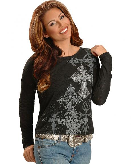 Roper Rhinestone Accented Burnout Long Sleeve Tee