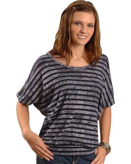 Cripple Creek Three-Quarter Length Sleeve Striped Tee