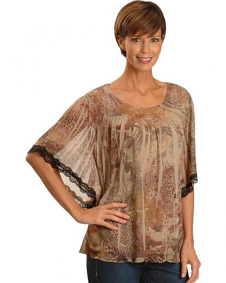 Wrangler Rock 47 Chiffon & Paisley Print Lace Design Top