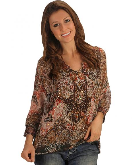 Three Quarter Sleeve Floral & Leaf Sequin Peasant Top