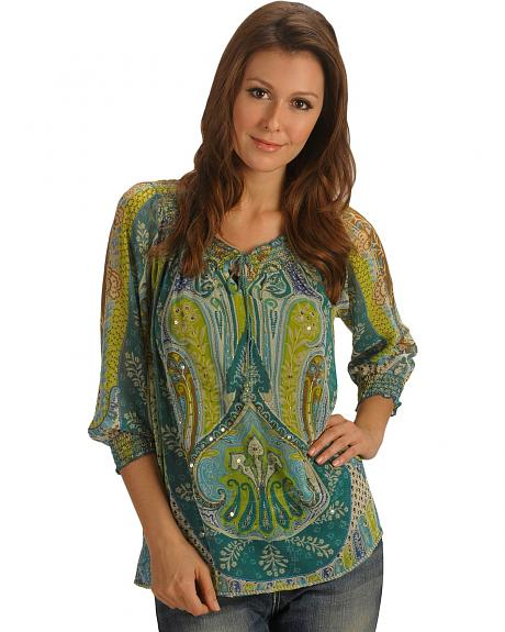 Three Quarter Sleeve Floral & Paisley Sequin Beaded Peasant Top