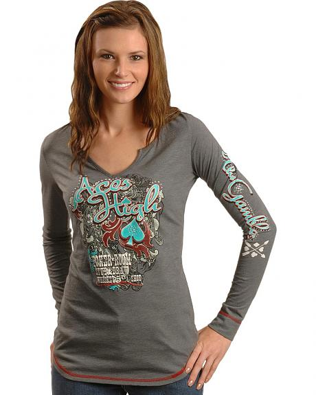 Notched Aces High Poker Theme Tee