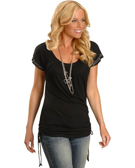 Wrangler Rock 47 Studded Cap Sleeve Side Rouched Drawstring Top