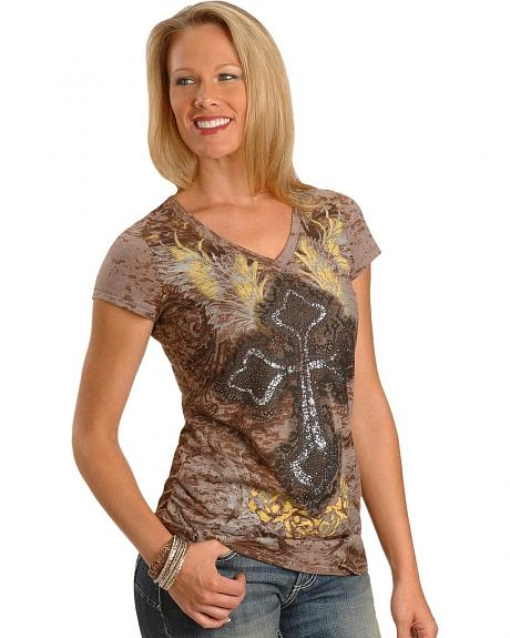 Wrangler Rock 47 Glittery Cross Burnout Tee