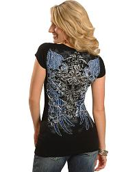 Wrangler Rock 47 Angel Wings Short Sleeve V-Neck T at Sheplers