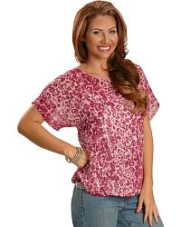 Wrangler Rock 47 Sheer Animal Print Top w/Sequin Cami at Sheplers