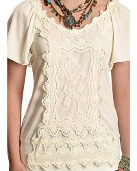 Wrangler Short Sleeve Ivory Top with Applique at Sheplers