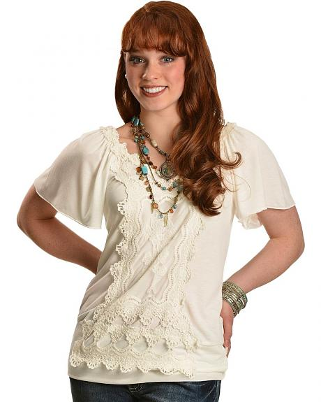 Wrangler Short Sleeve Ivory Top with Lace Applique