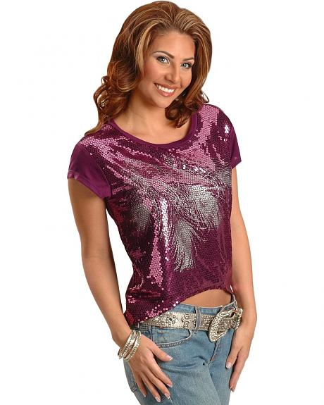 Wrangler Rock 47 Sequined Feather Tee
