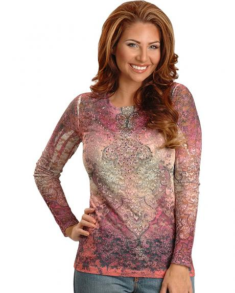 Wrangler Pink Sublimation Print Lace Tee