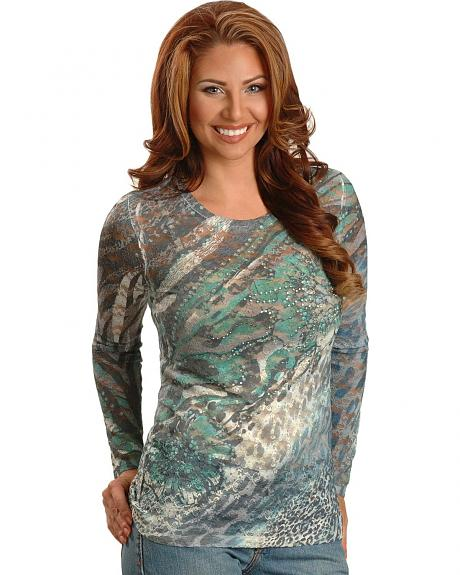 Wrangler Teal Sublimation Print Lace Tee
