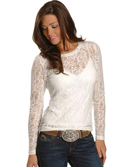 Ariat White Sheer Lace Tee