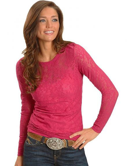 Ariat Pink Sheer Lace Tee