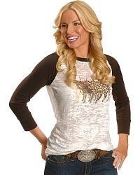 Studded Bull Three Quarter Length Sleeve Burnout Tee at Sheplers