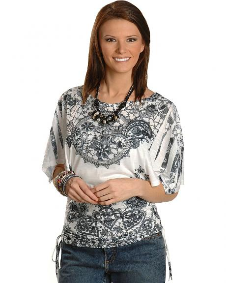 Panhandle Slim Screen Print & Rhinestone Kimono Sleeve Top