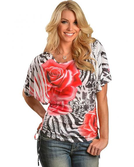 Panhandle Slim Rose Zebra Sublimation Print Kimono Top
