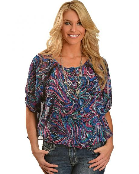 Wrangler Rock 47 Lace Inset Batwing Sleeve Top