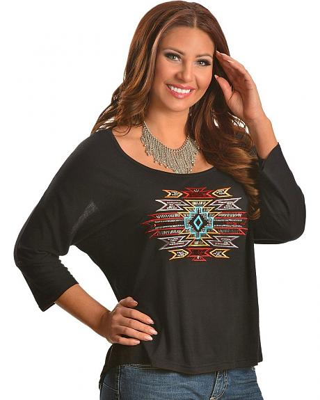 Panhandle Slim Aztec Embroidered 3/4 Length Sleeve Top