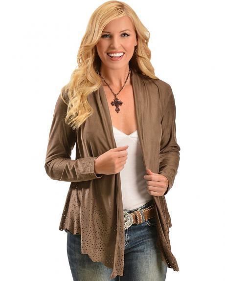 Ariat Faux Suede Laser Cutout Cardigan