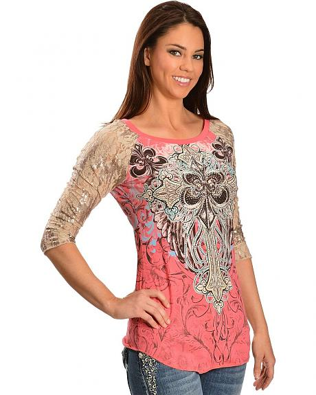 Red Ranch Fleur-De-Lis Embellished Lace & Sequin Sleeves Top