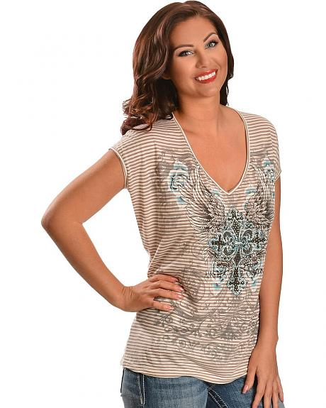 Red Ranch Striped Cross & Wings with Lace Back Short Sleeve Top