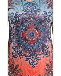 Red Ranch Rhinestone Embellished Sublimation Floral Print Shark Tail Hem Top at Sheplers