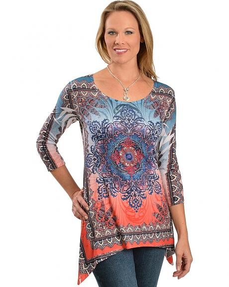 Red Ranch Rhinestone Embellished Sublimation Floral Print Shark Tail Hem Top