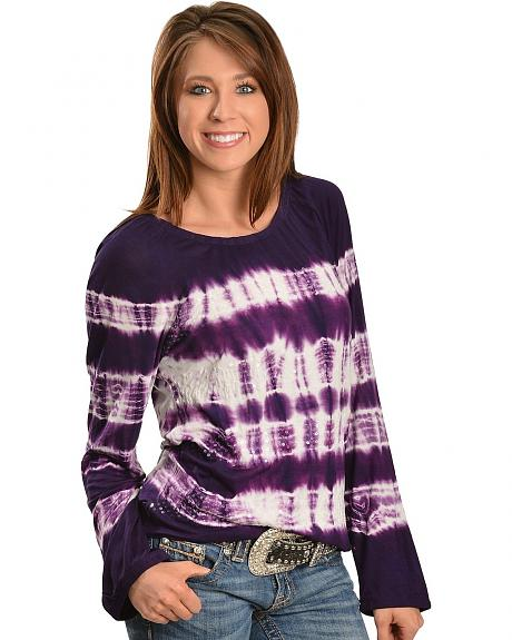 Just Class Purple Tie Dye Sequin Top