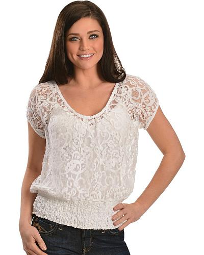 Ariat White Lace Sweetheart Top Western & Country 10012340