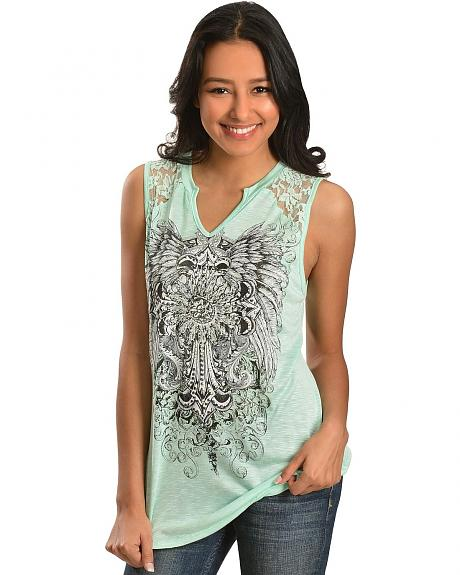 Red Ranch Lace Inlay Winged Cross Sleeveless Top