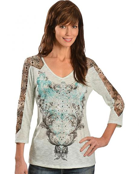 Red Ranch Lace Inlay Slub Print 3/4 Length Sleeve Top