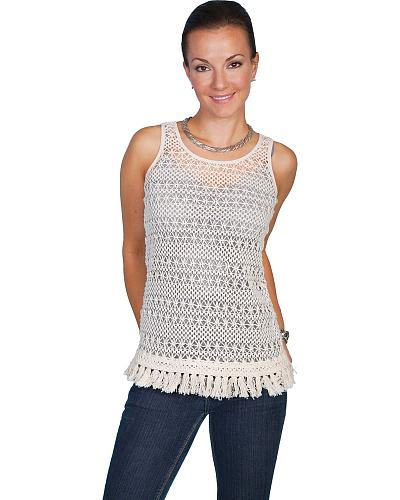 Scully Crocheted Tank Top Western & Country HC82
