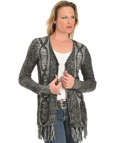 Black Marbled Knit Cardigan Western & Country 43328 BLK