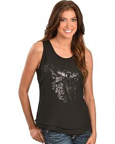 Ariat Ivy Black Sequin Embellished Tank Top
